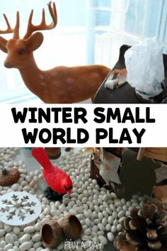 A super fun activity for preschool - make a winter small world! A milk carton, some small toys, and natural elements are all you need to start the imaginative play. Early Learning Activities, Weather Activities, Sensory Activities, Activities For Kids, Small World Play, Preschool Lesson Plans, Learning Through Play, Imaginative Play, Milk