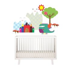 Adesivo de parede DRAGON 1&3 @amomooui.  Uma opção prática e econômica para decorar a parede do quarto das crianças.