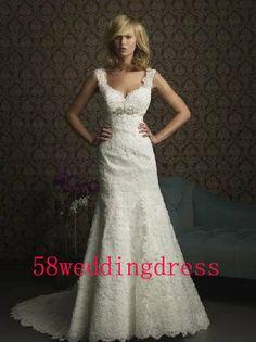 2014 White Ivory Sleeveless Wedding Dress Lace Wedding Dress Bridal Gown Straps Wedding Dress Floor-Length Size 6 8 10 12 14 16 Custom