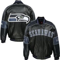 Sports Seattle Seahawks Black Varsity Faux Leather Jacket