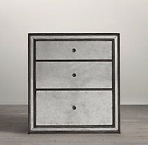 "Strand Mirrored Open Nightstand 24""W X 20""D X 26""H"