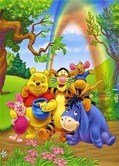 Winnie the Pooh, Tigger, Piglet, Eeyore and Roo. Winnie The Pooh Pictures, Cute Winnie The Pooh, Winne The Pooh, Winnie The Pooh Quotes, Winnie Pooh Personajes, Eeyore, Cute Disney, Disney Art, Disney Films
