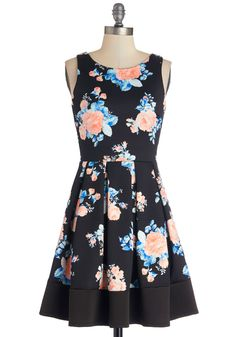 Midnight Blossom Dress. Tonights fete is abloom with twinkling starlight, jovial company, and the winsome elegance that comes from wearing this floral dress! #multi #modcloth