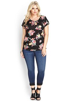 Cluster Floral Knit Tee | Forever 21 PLUS - 2000067830
