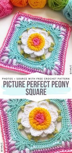Impressive Granny Squares Free Crochet Patterns Picture Perfect Peony Square Kostenlose Häkelanleitung Crochet Squares and Blocks (Visited 1 times, 1 visits today) Crochet Motifs, Granny Square Crochet Pattern, Crochet Blocks, Crochet Squares, Crochet Stitches, Bag Crochet, Crochet Crafts, Crochet Projects, Crotchet