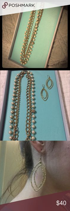 """Stella and Dot bundle This bundle comes with the Coco chain, Pearl necklace and Gold tear drop earrings. The necklace can be worn three different ways. It measures 13"""" from clasp to bottom and the earrings drop 2 1/2"""". Stella & Dot Jewelry Necklaces"""