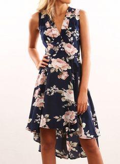 Women's V Neck Sleeveless Floral Printed Asymmetric Midi Dresses