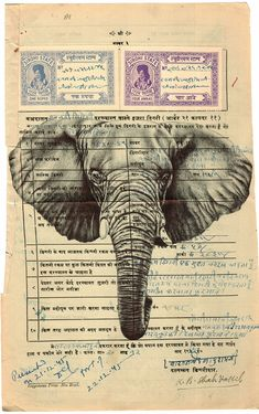 Bic biro drawing on a 1945 Indian document by Mark Powell