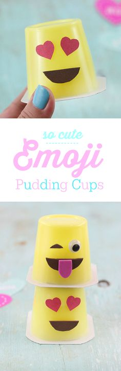 Get Your Cute On with these easy to make DIY Emoji Pudding Cups. via @dawnchats