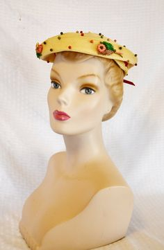 1950s Vintage Straw Beret Hat with Beads and by MyVintageHatShop