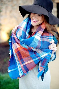 Plaid blanket scarf Tartan Scarf, Plaid Blanket Scarf, Monogrammed Scarf, Birthday Gifts For Best Friend, Street Style, Leggings Fashion, Autumn Winter Fashion, Fall Fashion, Womens Scarves