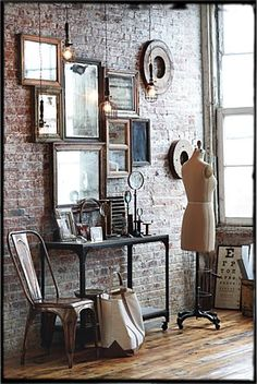 Industrial vintage frames - Been wanting to make this anthropologie mirror wall hanging forever! it's taken me over a year, but i think i finally have enough vintage mirrors and frames to do it! yay! :)
