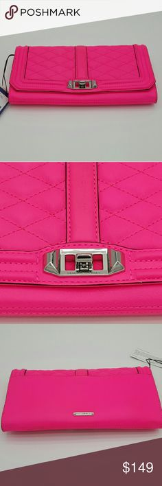 "REBECCA MINKOFF LOVE CLUTCH/CROSSBODY BRAND NEW SEALED WITH TAGS  REBECCA MINKOFF LOVE CLUTCH/CROSSBODY (HU15ELVC04) ELECTRIC PINK    - Electric pink quilted leather, this is a love at first sight  - Use it as a clutch or go crossbody with the optional chain strap  - Genuine Leather  - Custom gold-toned hardware  - Flap closure with turn lock  - 23"" adjustable detachable shoulder strap drop  - Open exterior slip pocket  - 7 interior card slip pockets Rebecca Minkoff Bags Crossbody Bags"