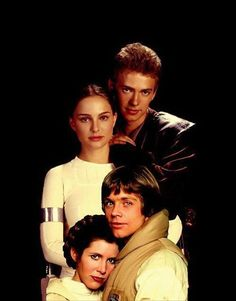 Star Wars family portrait of Anakin Skywalker and his wife, Padmé, with their twins, Luke and Princess Leia. This is really cute!