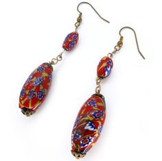 Vintage Art Deco Matched Red & Blue Millefiori Glass Bead Drop Earrings