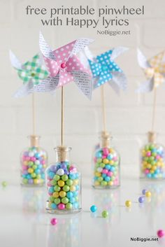"""Adorable FREE printable pinwheels from Bremyer Bremyer Bigler / NoBiggie for Easter and Spring! BONUS: """"Happy"""" song lyrics by Pharrell included in the design! Candy Party, Party Favors, Favours, Spring Crafts, Holiday Crafts, Diy Christmas, Christmas Ornaments, Diy Ostern, Festa Party"""