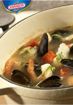 Fish Soup is a seafood lover's dream. Mussels, halibut, and shrimp ...