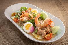 Grilled eggplant with pork and prawn salad 🥗🦐 🍆 . Prawn Salad, Cobb Salad, Grilled Eggplant, Bucharest, Romania, Pork, Kale Stir Fry, Pork Chops