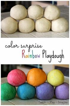 How to make rainbow color surprise playdough - Kids will love the surprise color that appears from this super soft playdough recipe! I love playdough Super Soft Playdough Recipe, Homemade Playdough, Craft Activities, Toddler Activities, Spring Activities, Rainbow Playdough, Fun Crafts, Crafts For Kids, Children Crafts