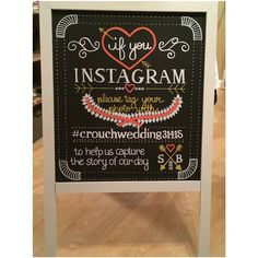 B Boards Newest Board! Instagram Easel to inform your guests to use your hashtag! #bboardinstasign #weddingwednesday #weddings #love #present #bboards #bybboards #bboardsweddings #engagements #showers #crouchwedding31415