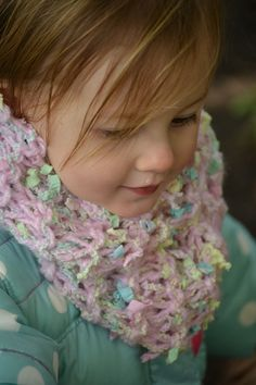 Child Infinity Scarf Cowl handmade with ecofriendly yarns, in multicolor with pastels in blues, greens, yellows, whites with pink base.. $29.00, via Etsy.