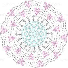Crochet Mandalas – Page 8 Motif Mandala Crochet, Crochet Doily Diagram, Crochet Circles, Crochet Doily Patterns, Crochet Chart, Crochet Squares, Granny Squares, Filet Crochet, Crochet Diy