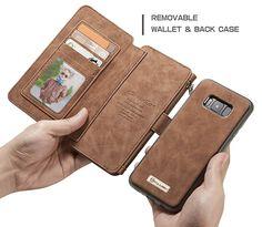 CaseMe Samsung Galaxy S8 Plus Retro Flannelette Leather Detachable 2 in 1 Wallet Case Brown