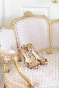 gold chair and heels with sparkles