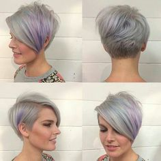 Asymmetrical pixie. Grey and purple hair! In love with this!