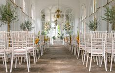 Orangery at holland park set up for a wedding ceremony