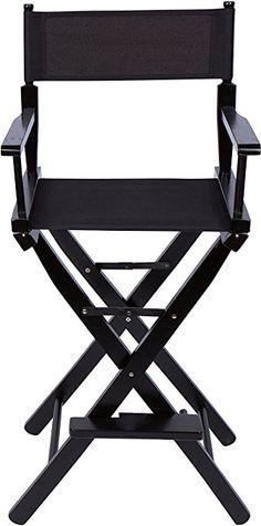"FCH Professional Makeup Artist Directors Chair Foldable Black Frame Canvas Wooden Makeup & Hair Chair, 30"", Black"