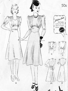 Butterick 8672 Misses' Vintage 30s/40s with Cinched Waist, Sleeve and Neckline…
