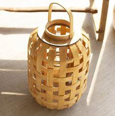 Rustic Beach: Natural Wood Slat Lanterns | Nautical Luxuries Dish Soap Dispenser, Small Lanterns, Tabletop Shop, Rattan Basket, Wood Slats, Home Accents, Natural Wood, Rustic, House Styles