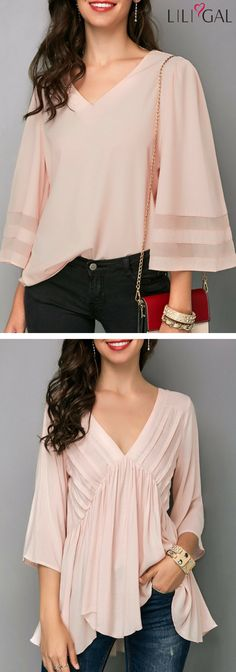 Second photo good for belly and arms - maybe a problem with the neck/bodice - Light Pink Three Quarter Sleeve V Neck Blouse/ Pink Asymmetric Hem V Neck Blouse Casual Outfits, Cute Outfits, Fashion Outfits, Womens Fashion, Beautiful Blouses, Beautiful Outfits, Blouse Patterns, Blouse Designs, Cute Tops