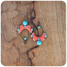 Macrame drop dangle earrings Miyuki seed bead and turquoise