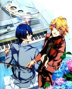 I want to be in a duet like this in the future...or just have people I can play music with. Not in an orchestra though.  Pic of Masato and Natsuki from Uta no prince sama