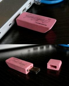 Pink Eraser USB Flash Drive - We are afraid this might get thrown away by accident in an office, though! #gadgets