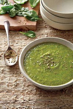 Vegetarian and Vegan Split Pea, Fennel, and Spinach Soup | Vegetarian Times #vegan #soup #recipe