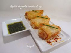 Les receptes del Miquel: Rollitos de gamba con salsa de soja