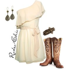 Country Concert Outfit: Perfect concert outfit for an evening concert with frilly cream dress. Love the silky sash and flounce at the bodice. Gimme those boats!