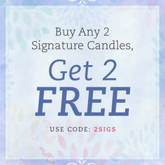 Brighten up this 'hump day' with JewelScent! Buy and 2 Signature Candles and get 2 FREE! Stock up on all your favorite scents from all of your favorite collections!  Just enter '2SIGS' at checkout to take advantage of this awesome deal. Happy Wednesday! *Cannot be used with any other promo code* Offer ends 3/01/2015 11:59 PM PST or whiles supplies last Must add all items to the cart in order for promo to apply Product Offering, Jewelry Gifts, Candles, Personalized Items, Soap, Aroma Beads, Stuff To Buy, Surprise Gifts, Happy Friday