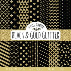 Instant download black and gold glitter digital paper pack with classic and elegant patterns - honeycomb, quatrefoil, large polka dot, small