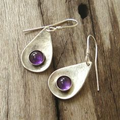 Items similar to Amethyst Drop Earrings Hammered Teardrop Dangle Earrings Jewelry for her radiant orchid color artisan feminine dangle earrings autumn charm on Etsy