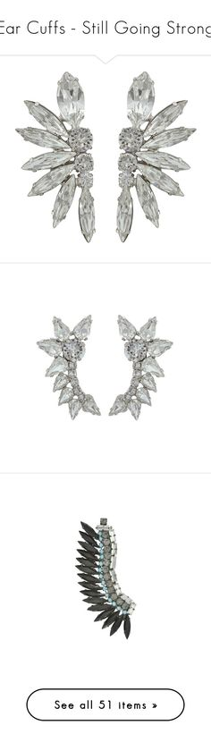 """""""Ear Cuffs - Still Going Strong"""" by sophiescloset ❤ liked on Polyvore featuring jewelry, earrings, crystal clip earrings, ear cuff jewelry, ear cuff earrings, clip earrings, crystal ear cuff, ear cuffes, crystal jewellery and crystal earrings"""