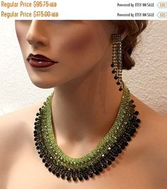 wedding jewelry set bib necklace earrings Chunky by GlamDuchess