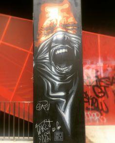 By @rnst_art #rnst #rnstart #gangster #bandit  #streetart #graffiti #graff #spray #bombing #wall #instagraff #streetartist #urbanart #urbanartist  #streetartparis #parisgraffiti #graffitiwall #wallporn #wallpornart #streetarteverywhere #streetphoto #streetartandgraffiti #urbanwalls #graffart #sticker #pochoir #collage Bd du Général Jean Simon #paris