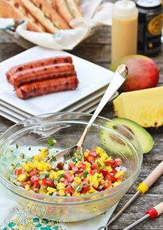 A Spicy Perspective Hawaiian Hot Dogs with Mango Salsa and Pineapple Mustard - A Spicy Perspective