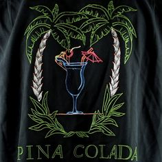 Bobby Chan Pina Colada Cocktail Palm Lounge Shirt Medium Silk Black Embroidered | eBay