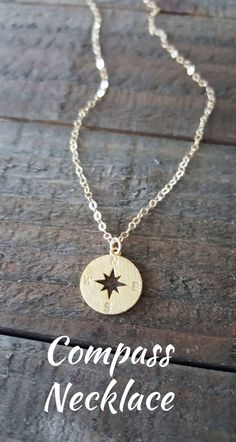 Compass Necklace, 14K Gold Compass Necklace, Gold Travel Jewelry, Minimalist Jewelry. ad
