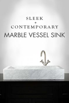 Carrara Marble is one of the most popular materials for bathroom and kitchen renovations today. Give your bathroom a luxurious update by adding in this rectangular marble vessel sink to your space.